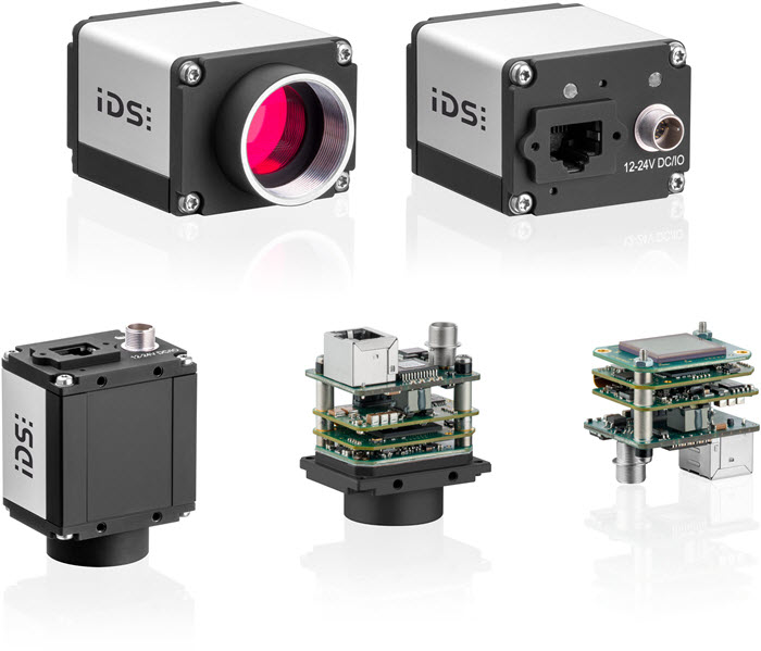 GigE IDS uEye SE cameras - cameras shown with compact housing, board camera with c-mount lens, and board camera without lens holder