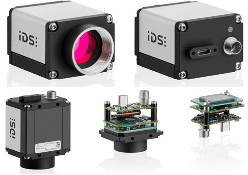 USB 3 IDS uEye SE cameras - cameras shown with compact housing, board camera with c-mount lens, and board camera without lens holder