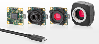 IDS Imaging USB3.1_Gen1 Type-C - cameras shown with compact housing and single board cameras