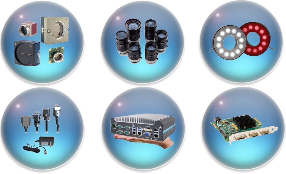 click icons to learn more about our machine vision products: cameras, lenses, frame grabbers, lighting, embedded systems, and industrial camera accessories