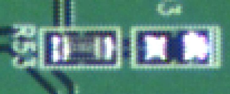 Photo of a printed circuit board taken with the Aptina 5 megapixel color sensor / OEM 3MP lens, zoomed by 1950 percent